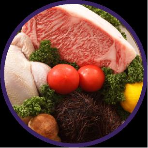 新鮮な肉や野菜